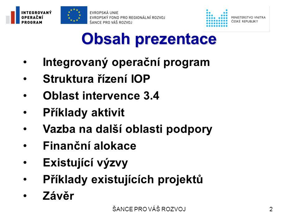 Obsah prezentace Integrovaný operační program Struktura řízení IOP