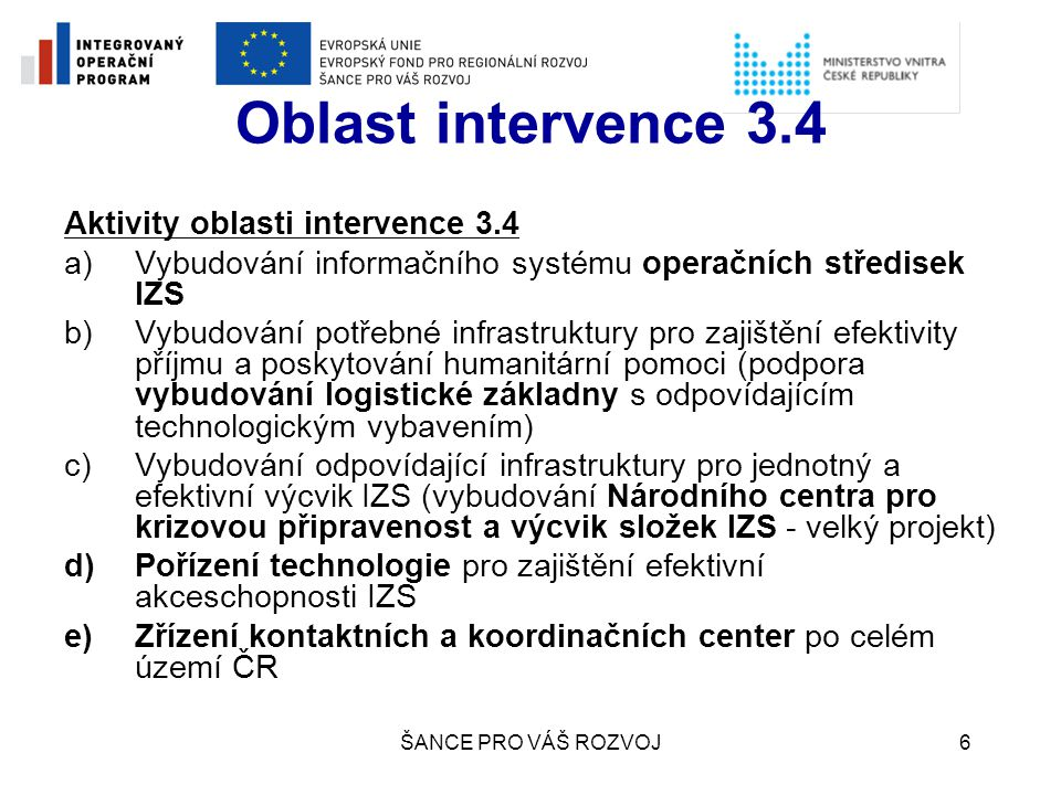 Oblast intervence 3.4 Aktivity oblasti intervence 3.4