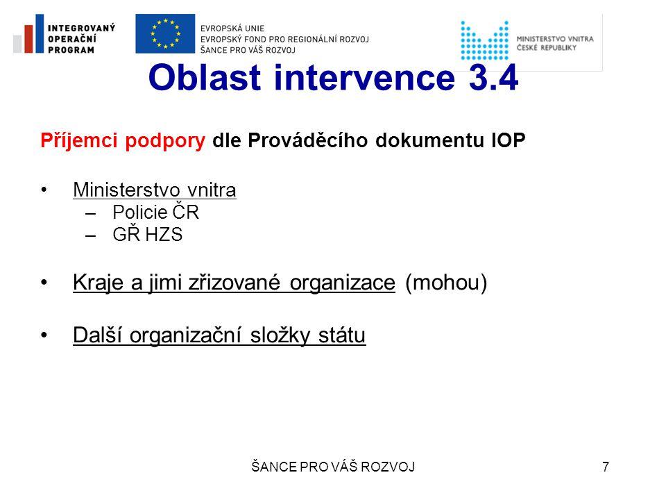 Oblast intervence 3.4 Kraje a jimi zřizované organizace (mohou)