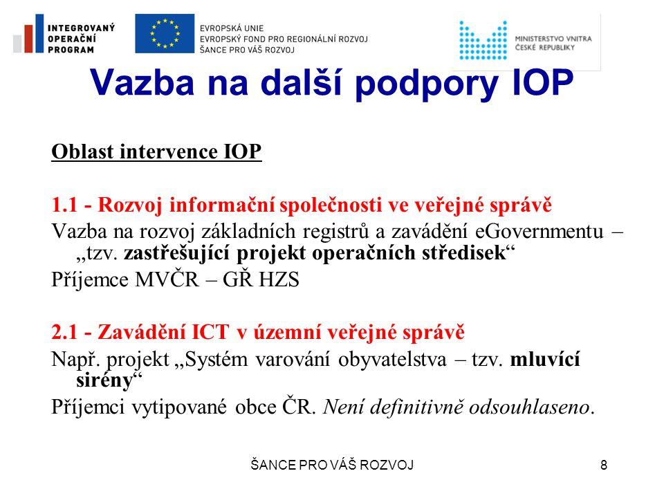 Vazba na další podpory IOP