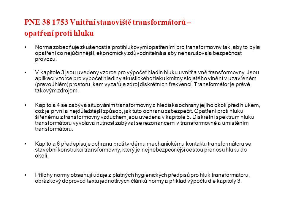 PNE 38 1753 Vnitřní stanoviště transformátorů – opatření proti hluku