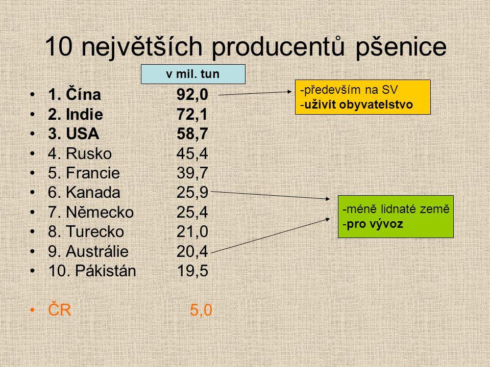 10 největších producentů pšenice