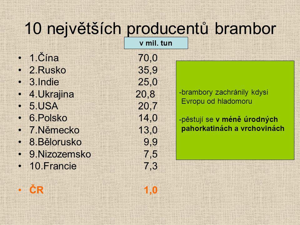 10 největších producentů brambor