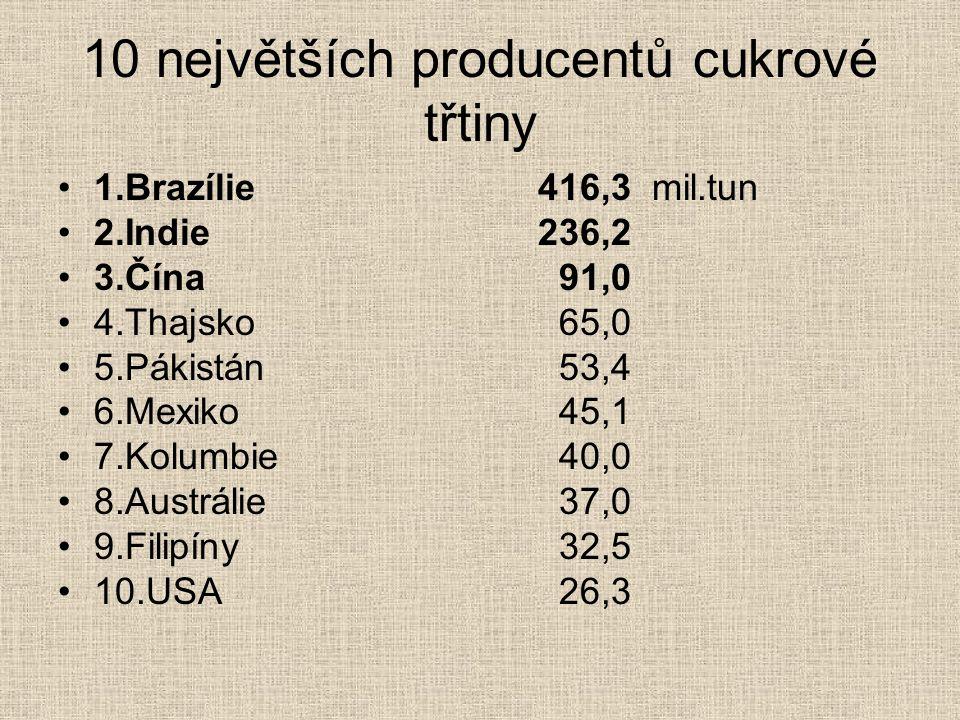 10 největších producentů cukrové třtiny