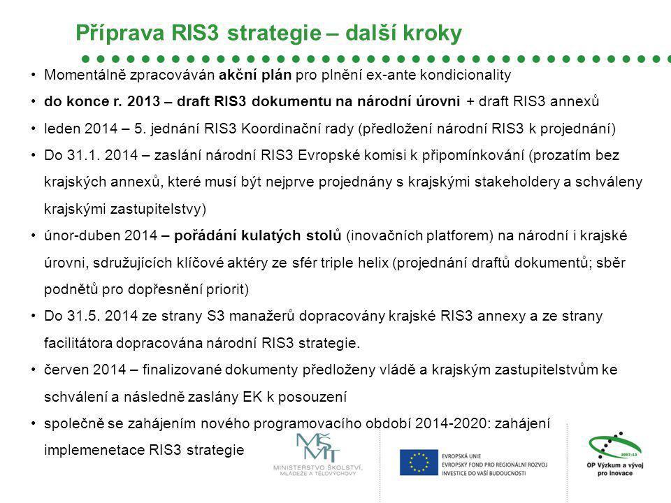 Příprava RIS3 strategie – další kroky