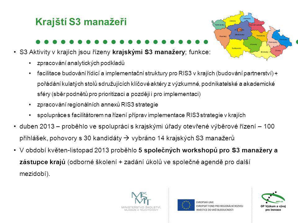 Krajští S3 manažeři S3 Aktivity v krajích jsou řízeny krajskými S3 manažery; funkce: zpracování analytických podkladů.