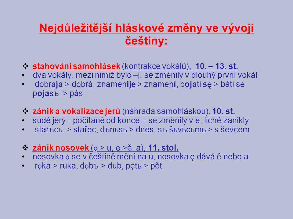 Nejdůležitější hláskové změny ve vývoji češtiny: