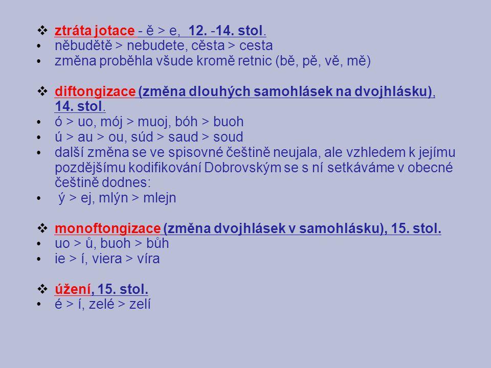 ztráta jotace - ě > e, 12. -14. stol.