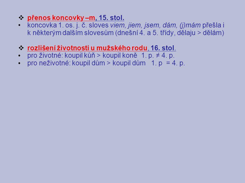přenos koncovky –m, 15. stol.
