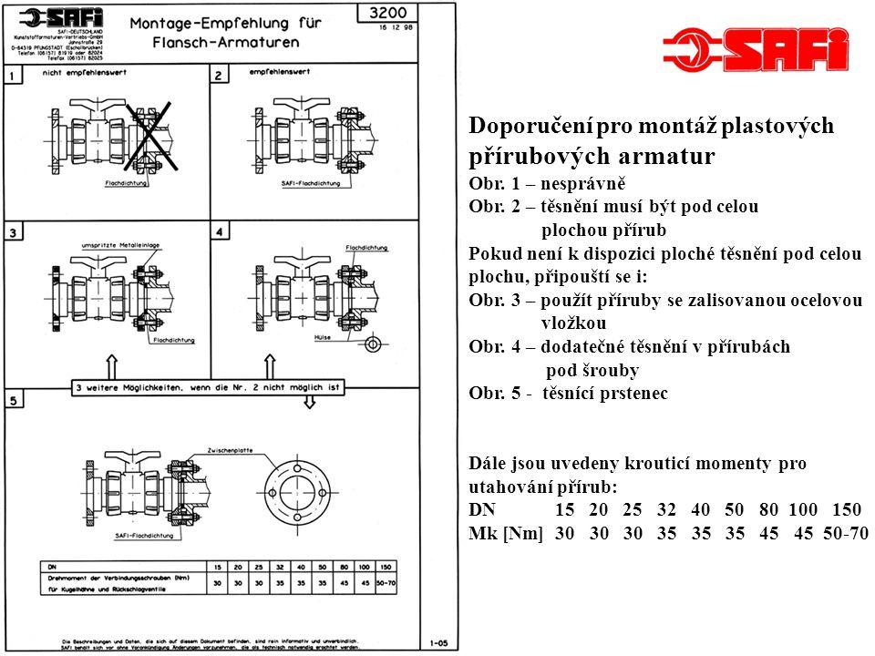 přírubových armatur Doporučení pro montáž plastových