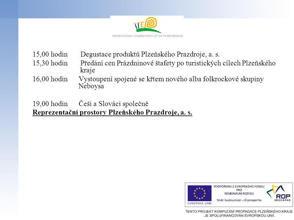 15,00 hodin Degustace produktů Plzeňského Prazdroje, a. s.