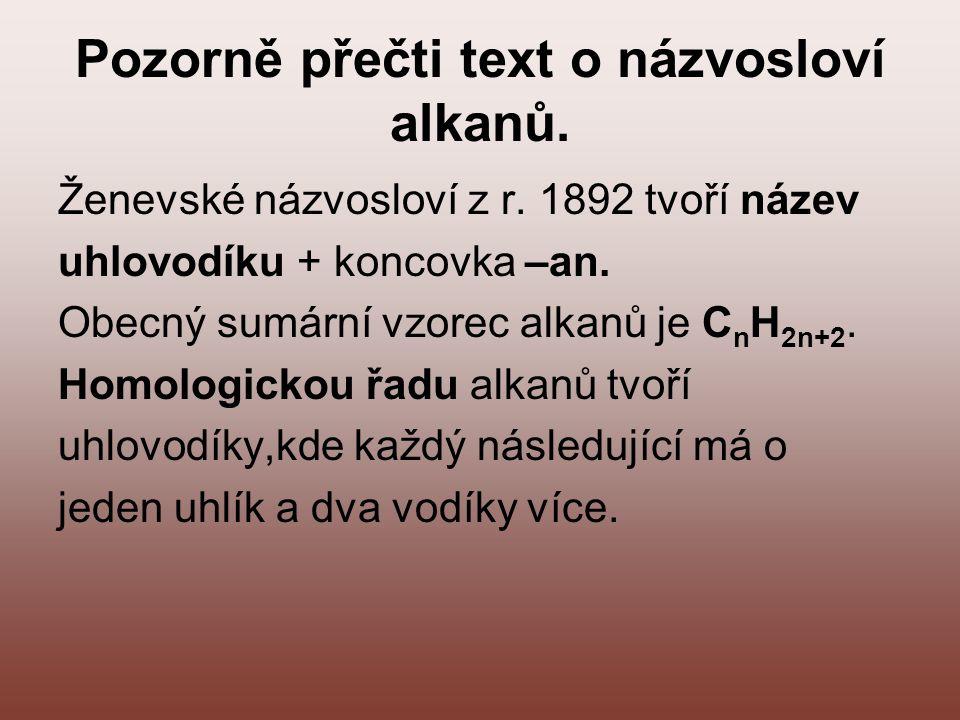 Pozorně přečti text o názvosloví alkanů.