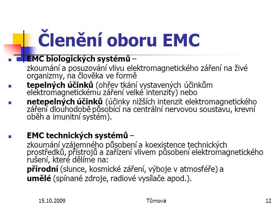 Členění oboru EMC EMC biologických systémů –