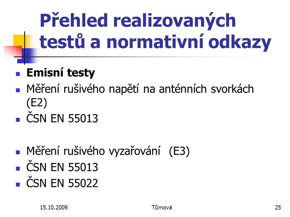 Přehled realizovaných testů a normativní odkazy