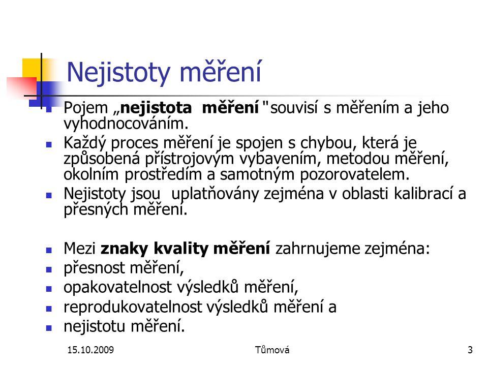 """Nejistoty měření Pojem """"nejistota měření souvisí s měřením a jeho vyhodnocováním."""
