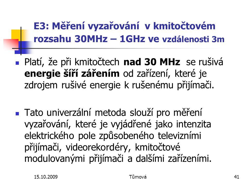 E3: Měření vyzařování v kmitočtovém rozsahu 30MHz – 1GHz ve vzdálenosti 3m