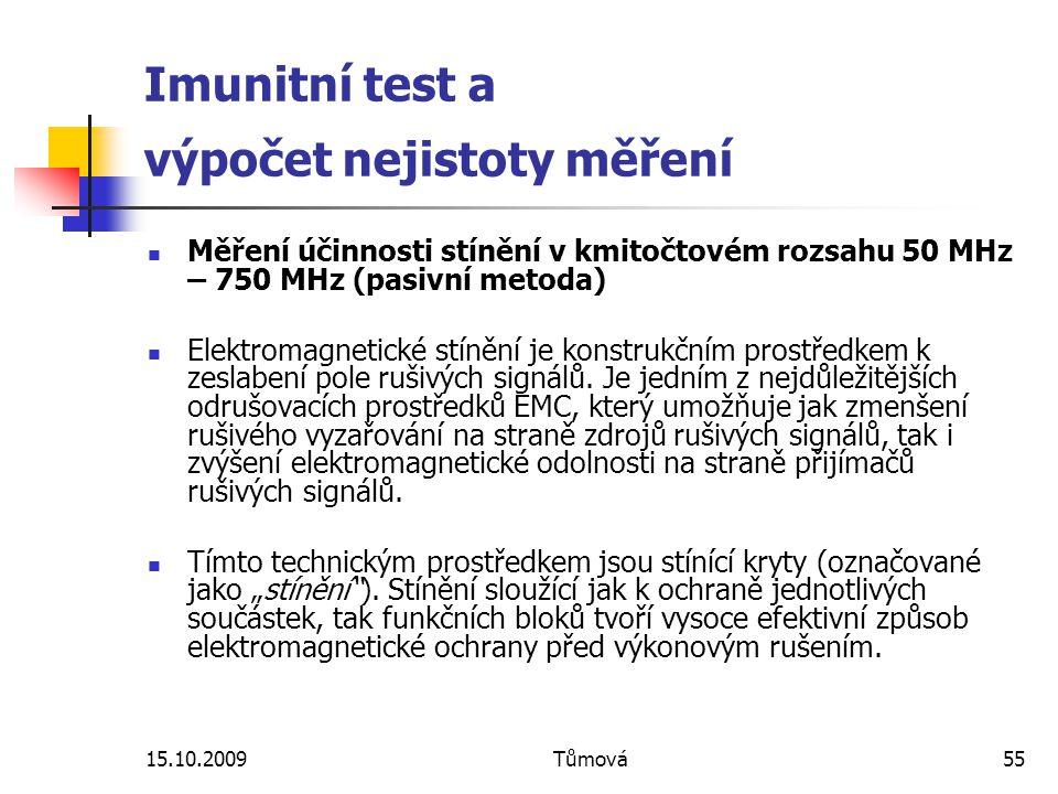 Imunitní test a výpočet nejistoty měření