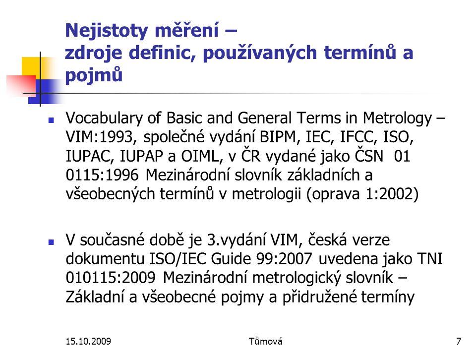 Nejistoty měření – zdroje definic, používaných termínů a pojmů