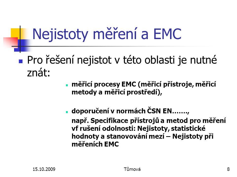 Nejistoty měření a EMC Pro řešení nejistot v této oblasti je nutné znát: měřicí procesy EMC (měřicí přístroje, měřicí metody a měřicí prostředí),