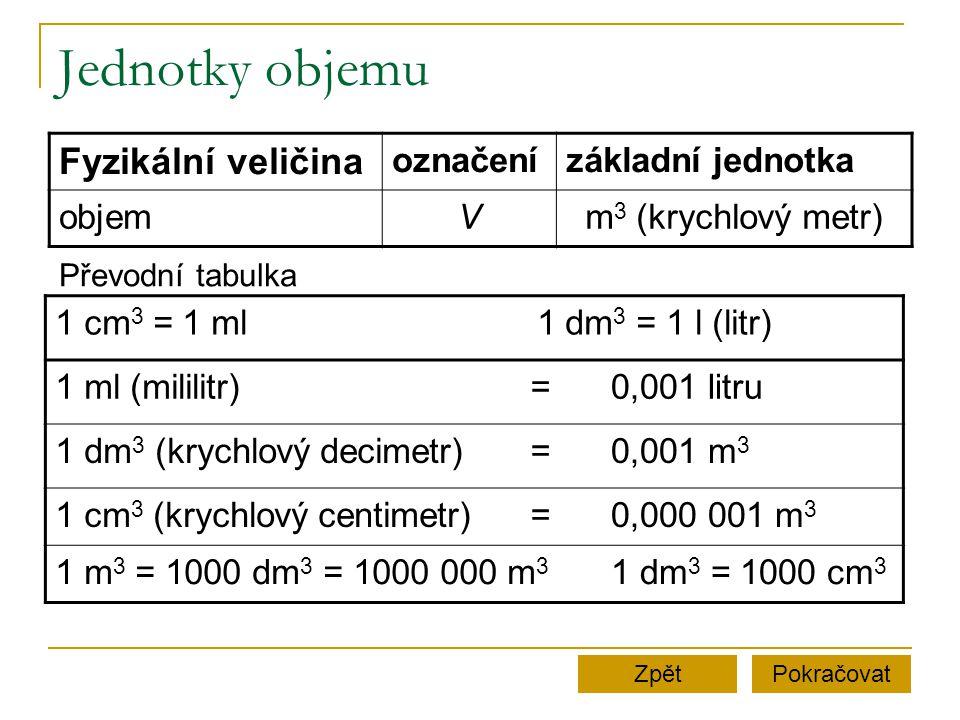 Jednotky objemu Fyzikální veličina označení základní jednotka objem V