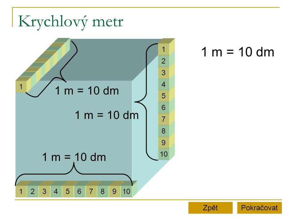 Krychlový metr 1 m = 10 dm 1 m = 10 dm 1 m = 10 dm 1 m = 10 dm 1 2 3 4