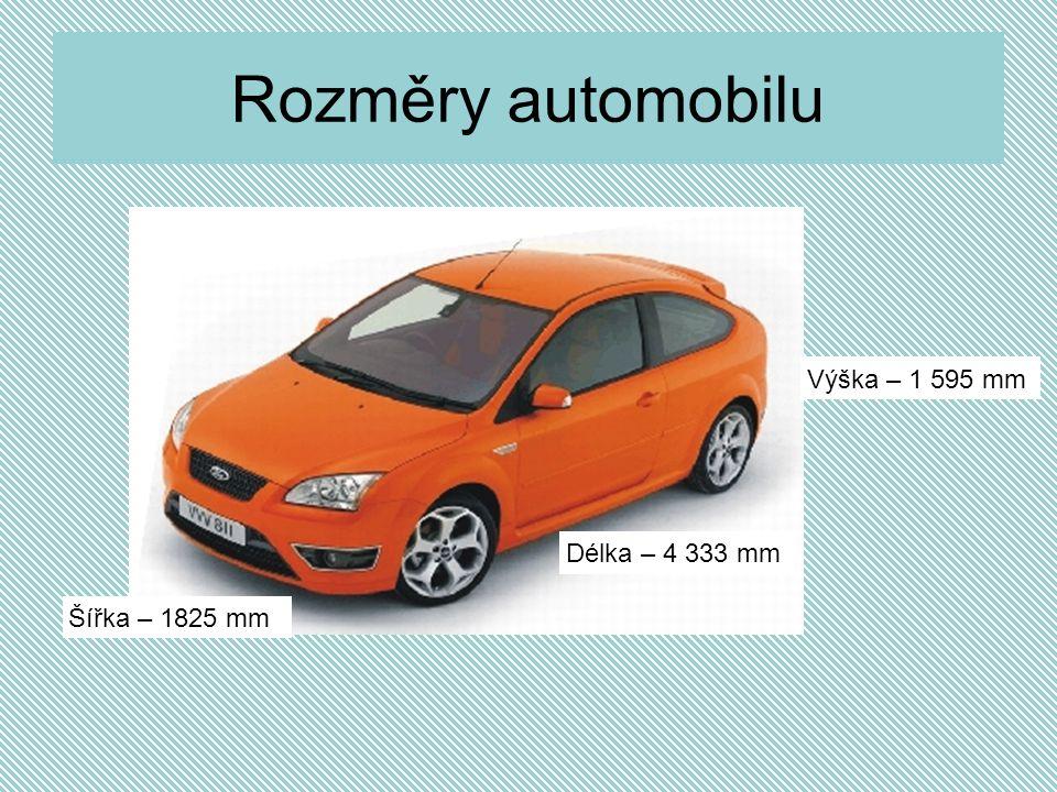Rozměry automobilu Výška – 1 595 mm Délka – 4 333 mm Šířka – 1825 mm