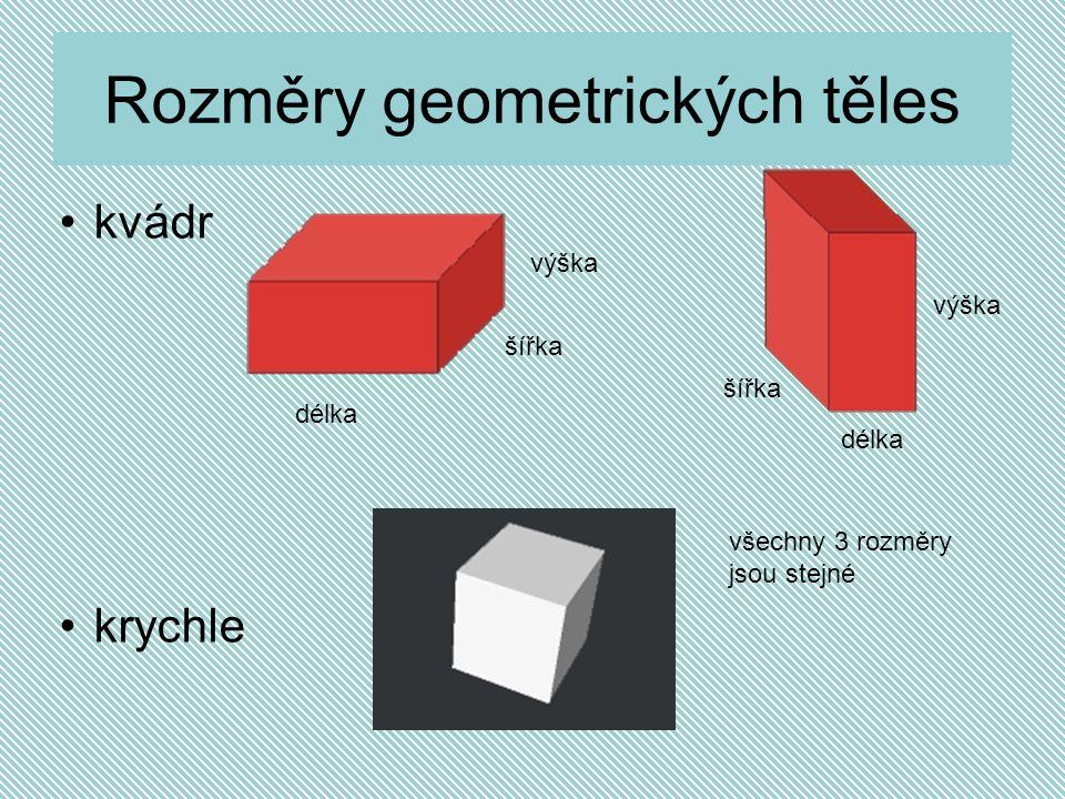 Rozměry geometrických těles