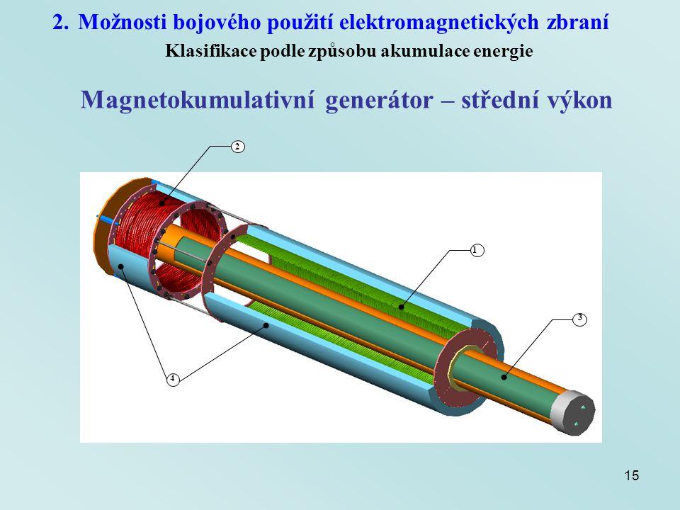 Magnetokumulativní generátor – střední výkon