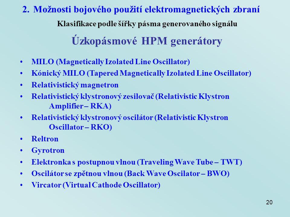 Úzkopásmové HPM generátory