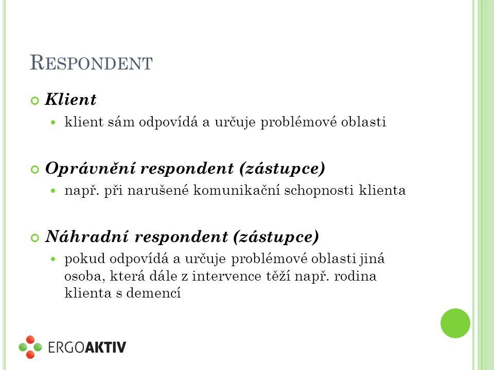 Respondent Klient Oprávnění respondent (zástupce)