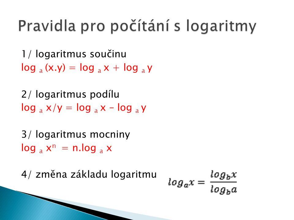 Pravidla pro počítání s logaritmy