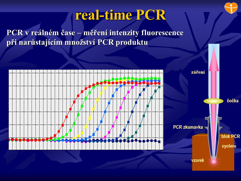 real-time PCR PCR v reálném čase – měření intenzity fluorescence při narůstajícím množství PCR produktu.