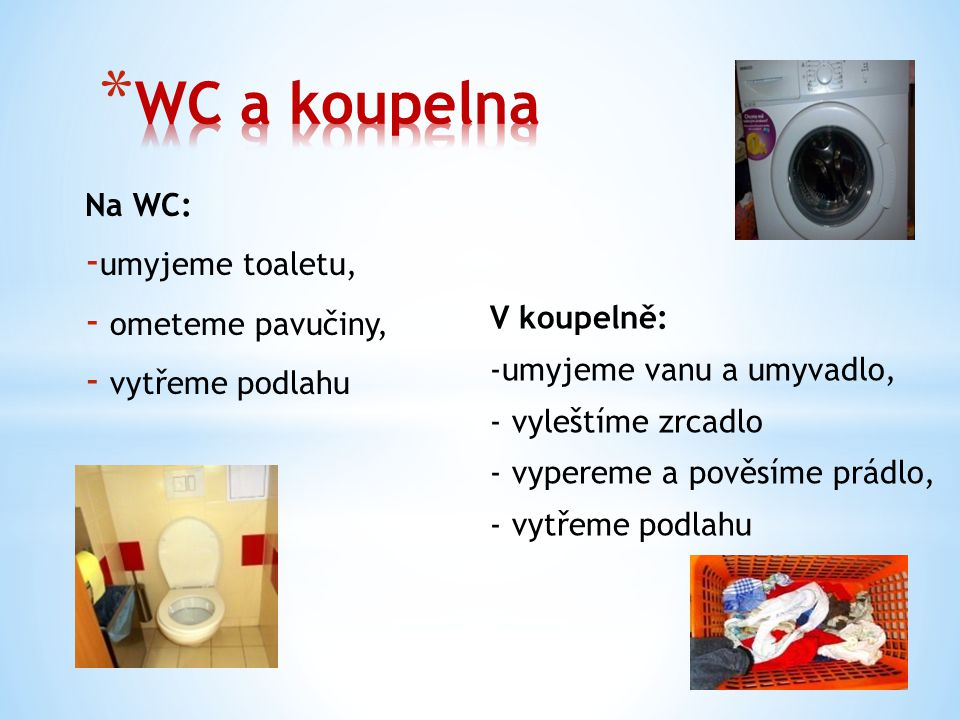 WC a koupelna Na WC: umyjeme toaletu, ometeme pavučiny,