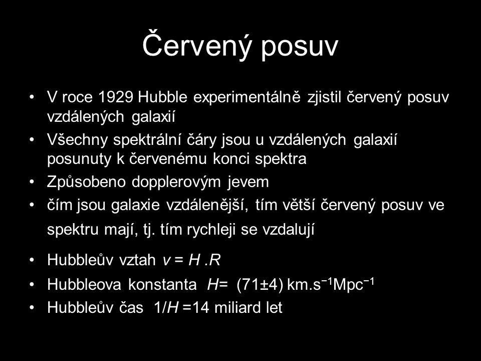 Červený posuv V roce 1929 Hubble experimentálně zjistil červený posuv vzdálených galaxií.