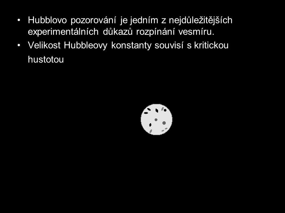 Hubblovo pozorování je jedním z nejdůležitějších experimentálních důkazů rozpínání vesmíru.