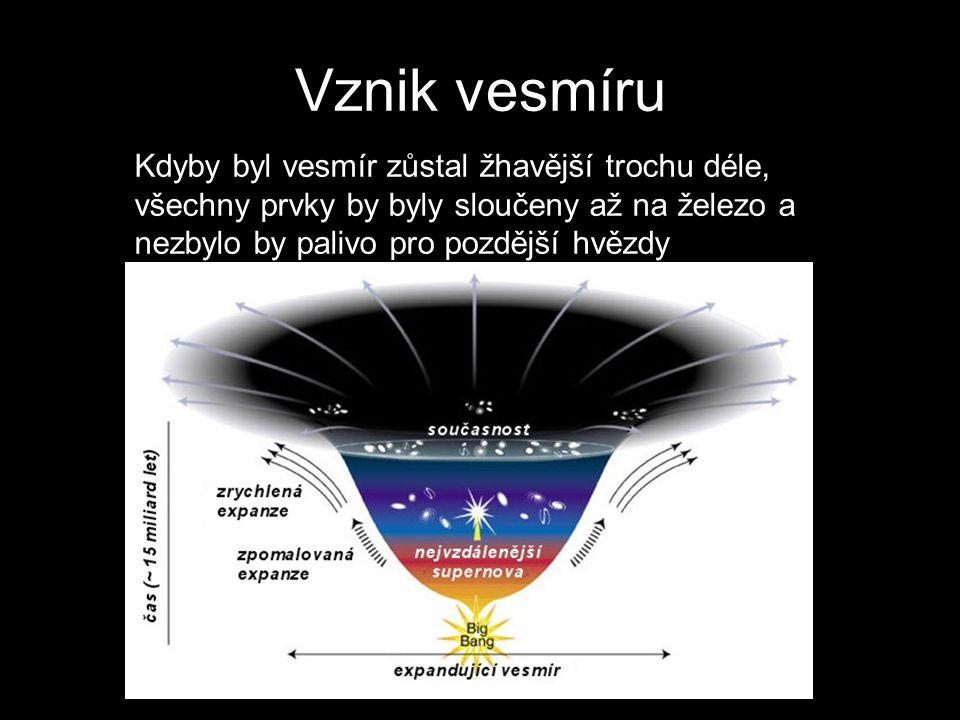 Vznik vesmíru Kdyby byl vesmír zůstal žhavější trochu déle, všechny prvky by byly sloučeny až na železo a nezbylo by palivo pro pozdější hvězdy.