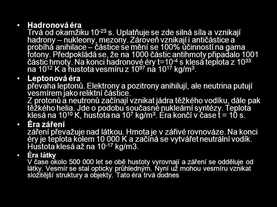 Hadronová éra Trvá od okamžiku 10-23 s