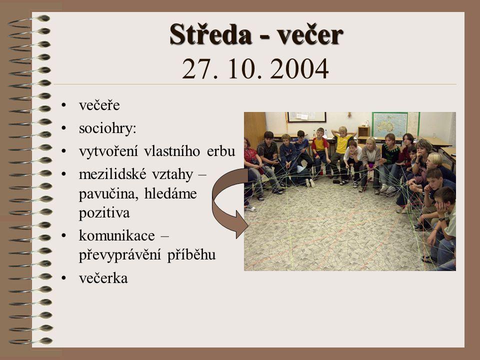 Středa - večer 27. 10. 2004 večeře sociohry: vytvoření vlastního erbu