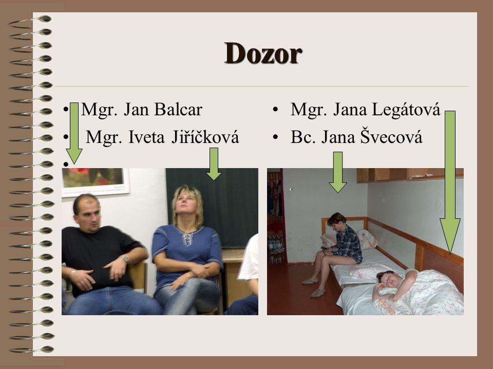 Dozor Mgr. Jan Balcar Mgr. Iveta Jiříčková Mgr. Jana Legátová
