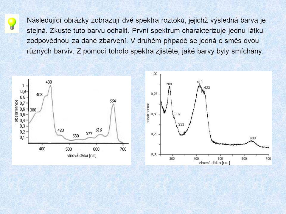 Následující obrázky zobrazují dvě spektra roztoků, jejichž výsledná barva je