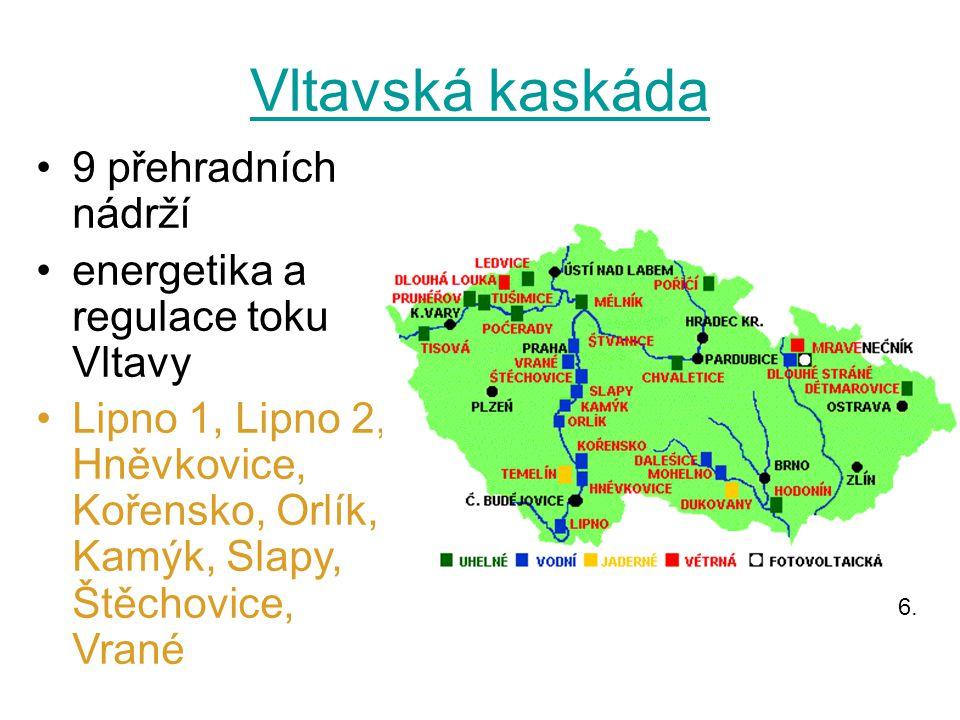 Vltavská kaskáda 9 přehradních nádrží