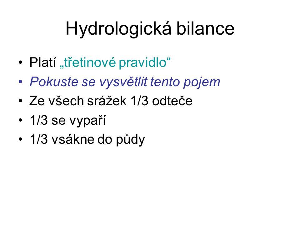 """Hydrologická bilance Platí """"třetinové pravidlo"""