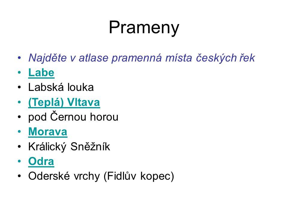 Prameny Najděte v atlase pramenná místa českých řek Labe Labská louka