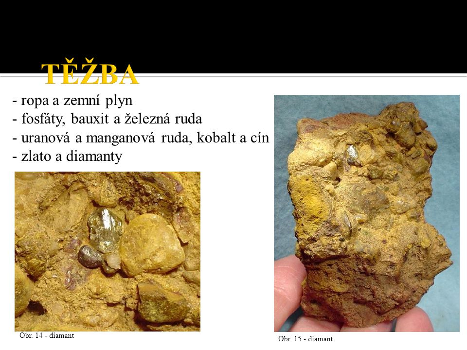 TĚŽBA - ropa a zemní plyn - fosfáty, bauxit a železná ruda