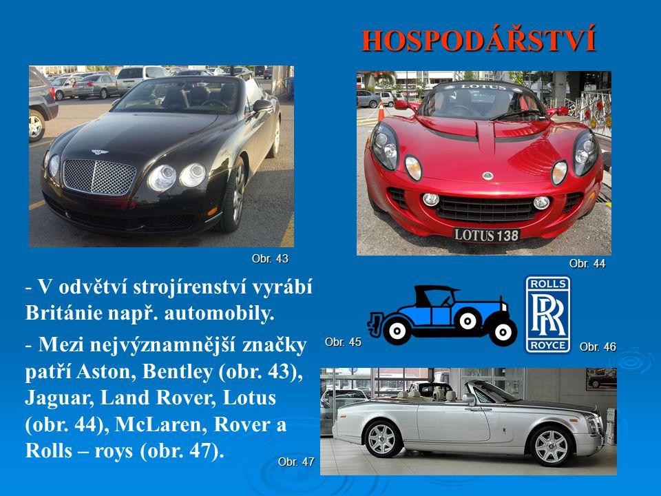 HOSPODÁŘSTVÍ V odvětví strojírenství vyrábí Británie např. automobily.
