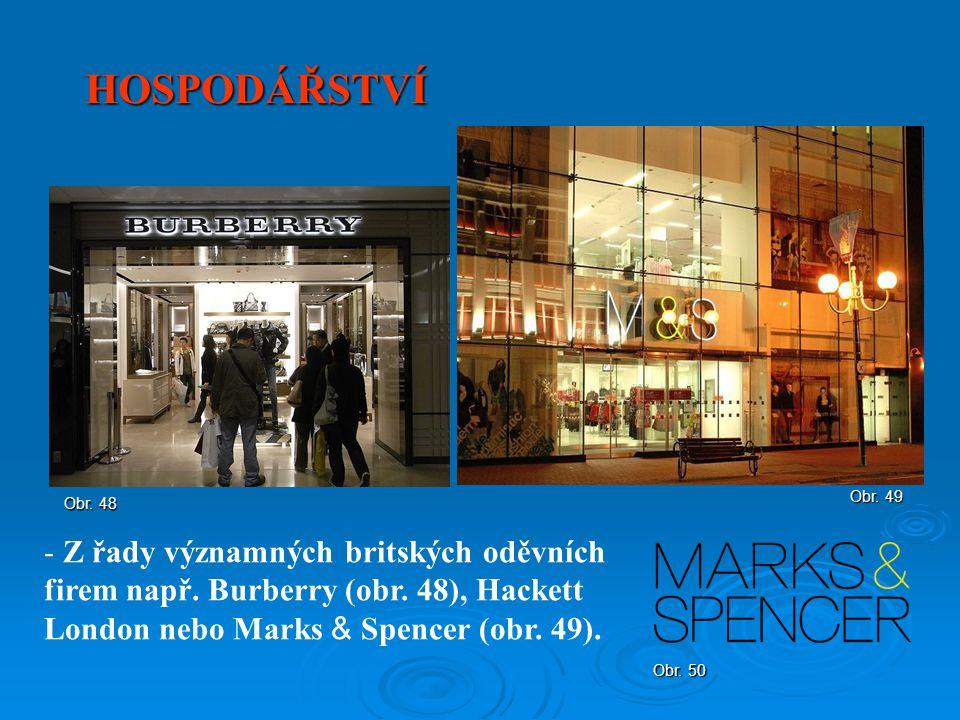 HOSPODÁŘSTVÍ Obr. 49. Obr. 48. Z řady významných britských oděvních firem např. Burberry (obr. 48), Hackett London nebo Marks & Spencer (obr. 49).