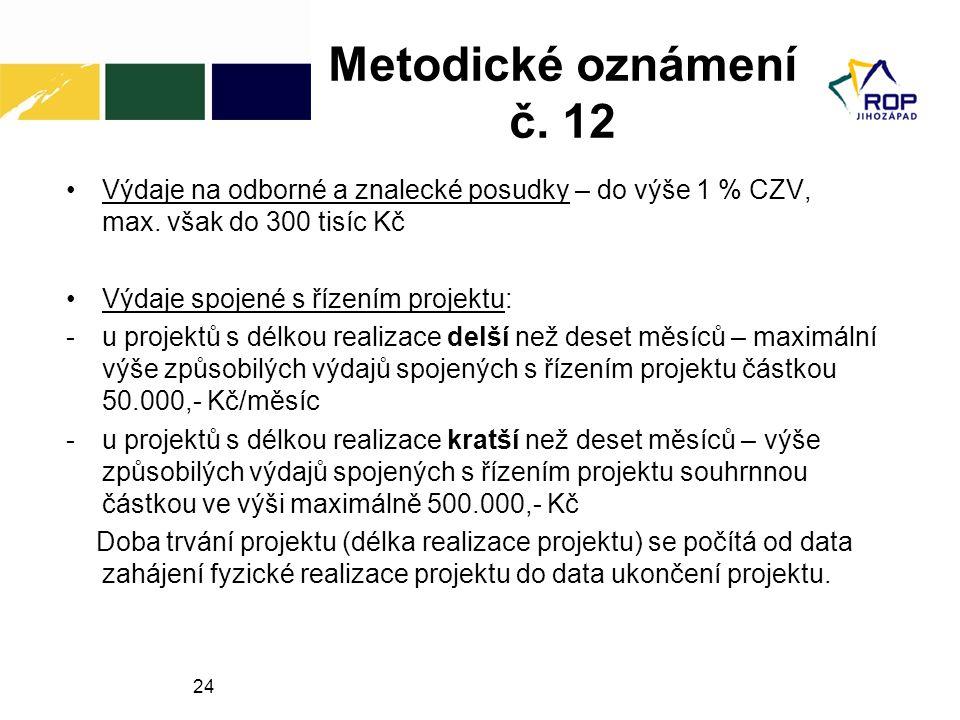 Metodické oznámení č. 12 Výdaje na odborné a znalecké posudky – do výše 1 % CZV, max. však do 300 tisíc Kč.