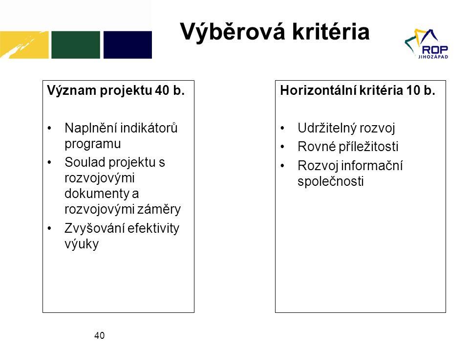 Výběrová kritéria Význam projektu 40 b. Naplnění indikátorů programu