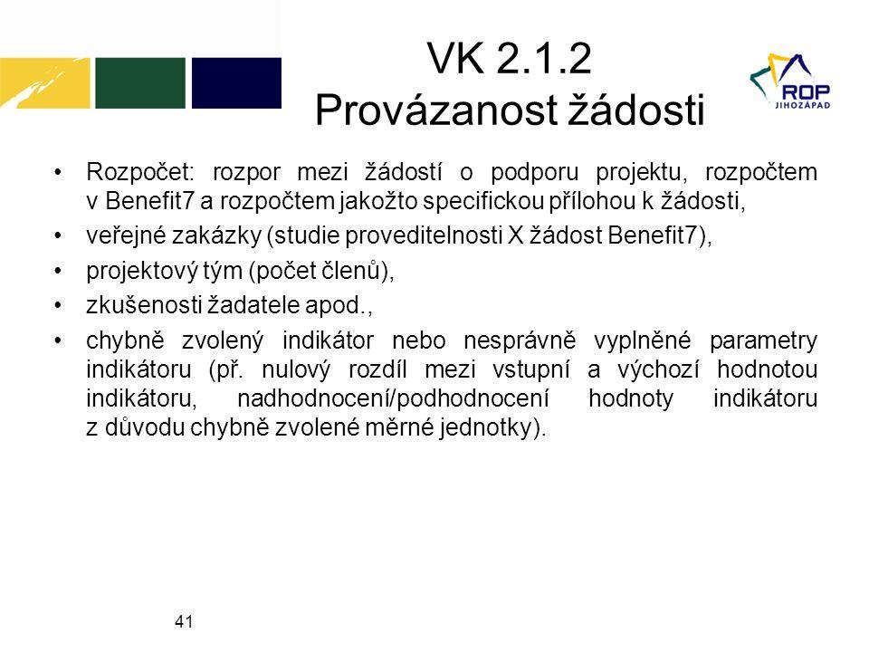 VK 2.1.2 Provázanost žádosti