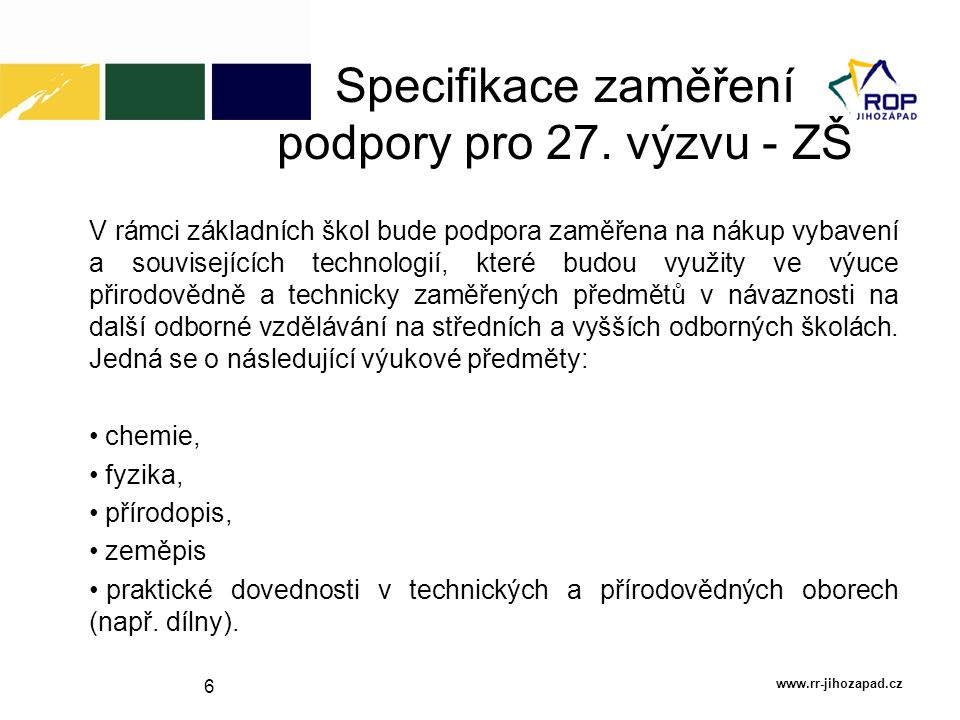 Specifikace zaměření podpory pro 27. výzvu - ZŠ